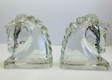 Vintage Pair Federal Glass Horse Head Shelf Bookends
