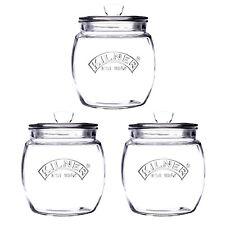 3pcs Kilner 850ml Glass Push Top Tea Coffee Sugar Airtight Storage Canister Jar