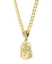 """Mens 14k Gold Plated Cz Jesus Face Pendant Hip-Hop 24"""" Cuban Necklace Chain"""