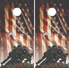 Iwo Jima Memorial Cornhole Skin Wrap Decal Set w/ Free Lamination