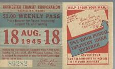 Rare 1945 Rochester Transit Corporation City Lines Weekly Pass, Rochester ,Ny