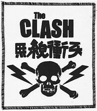 THE CLASH WHITE SEW ON PATCH DIY PUNK ROCK JAPANESE SKULL LIGHTNING BOLT