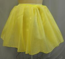 WOVEN YELLOW SPARKLE ORGANZA GATHERED DANCE COSTUME SKIRT-Size ADULT SIZE S