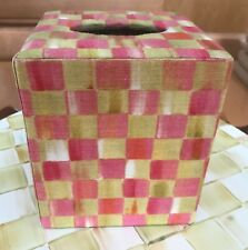 MacKenzie-Childs Tulip Check Aurora Toile Tissue Box Cover ~ Retired & VHTF ~