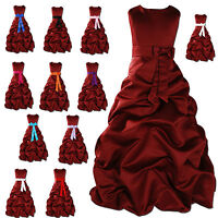 New Flower Girl Party Bridesmaid Pageant Dress 1-13Year Burgundy+Sash in12Colour