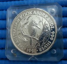 1991 Australia $5 Kookaburra 1 oz 999 Fine Silver Coin in Square Capsule