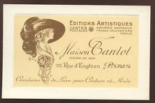 Glamour France advertising card Maison Cantot makers of Artistique Postcards
