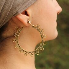 Large Goddess Tribal Circle Hoop Hook Earrings