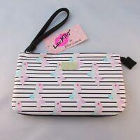 Betsey Johnson White Stripe Mermaid Double Pouch Bag Wristle Zipper