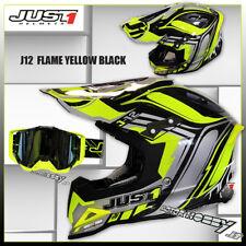 CASCO JUST CROSS CARBONIO JUST1 J12 FLAME YELLOW BLACK TAGLIA S + MASCHERA