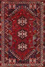 Vintage Geometric Abadeh Tribal Area Rug Hand-Knotted Traditional Carpet 6'x9'