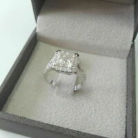 3.50 Ct Princess Cut Diamond 14k White Gold Over Halo Promise Engagement Ring