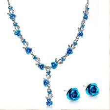 New Women Rose Wedding Bridal Jewelry Crystal Rhinestone Necklace Earrings Set