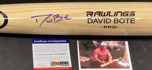 David Bote Chicago Cubs Autographed Signed Bat Blonde PSA WITNESS COA