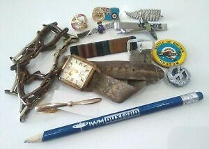 1940s & Military Job Lot: WW2 RAF Sweetheart Brooch badges watch spitfire tiepin