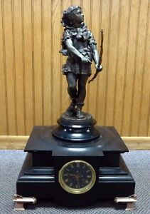 """Antique French Mantel Clock w/ Hercules Statue. Round Face. Tested + Works. 22""""T"""