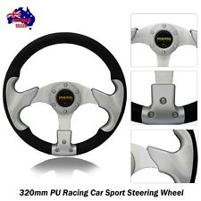 New Silver Sport 320mm PU Steering Wheel with Center Horn Button (8904)