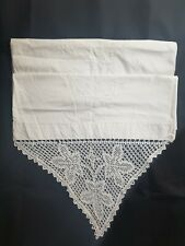More details for vintage/antique french pair of white pillowcases/embroidery/lace edge