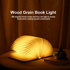 Wooden USB Night Light LED Warm Lamp 360° Folding Book for Hallway Bath  * A