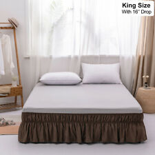 """Mohap 16"""" Drop Bed Skirt Dust Ruffle Easy Fit Wrap Around Bed King Size Coffee"""