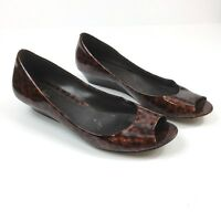 Cole Haan Tortoise Patent Leather Peep Toe Low Wedge Heel Womens Shoe Size 11 B