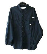 Columbia Pfg Mens Size 3Xl Blue Long Sleeve Vented Button Front Fishing Shirt