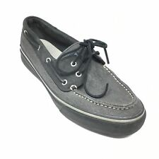 Men's Sperry Top-Sider Boat Shoes Sneakers Size 11 M Black Gray Casual Laced AJ1
