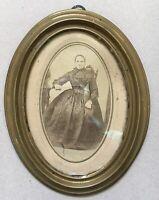 OVALER BILDERRAHMEN MESSING 19. CENTURY OLD PHOTO WOMAN #2 Daguerreotypie 1870