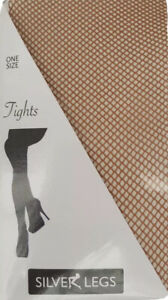 NATURAL TAN FISHNET TIGHTS - SILVER LEGS - ONE SIZE