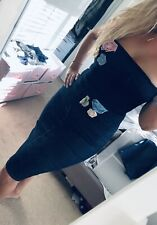 DOLCE & GABBANA Denim Midi Pencil Skirt IT46 Fits US6 + Free Notice Corset Top