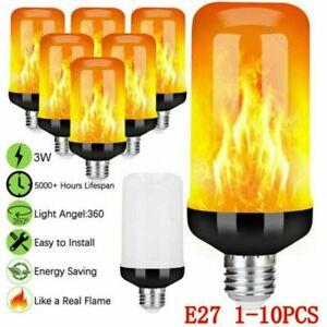 3W E27 B22 LED Flicker Flame Effect Candle Bulb Fire Burning Lamp Decor Light UK