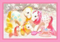 ❤️My Little Pony MLP G1 Vtg Loving Family Apple Delight Mommy Daddy Baby Lot❤️
