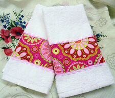 MICHAEL MILLER Cotton fabric  /2 Custom HAND TOWELS PINK AND RED Paisley