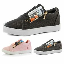 DailyShoes Women's Comfortable Side Pocket Flat Sneaker Tennis Cute Causal Shoes