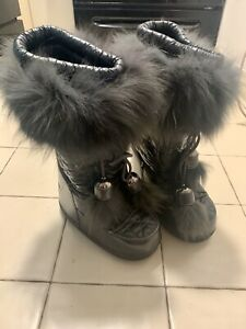 RARE Dior Dark Gray Grey Fur Snow Winter Moon Boots 36 37 38 6 7 8