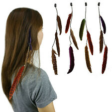 "12 pcs 14"" Long Feather & Chain Hair Extension w/Clip On Comb  Assorted Color"