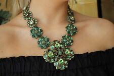 Oscar de la Renta Necklace Massive Haute Couture Green Crystal Statement Piece