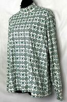 Lands End Womens Mock Neck Shirt Long Sleeve Top Green Geometric Cotton L 14 16