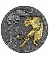 2021 Niue $5 Bushido 2 oz Silver Coin Antiqued w/Gold Gilding - 500 Made
