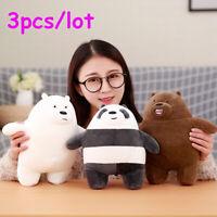 3pcs/lot 27cm Kawaii We Bare Bears Plush Toy Cartoon Bear Stuffed Grizzly Gray W