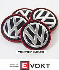 VW Volkswagen Passat Red Chrome Center Wheel Caps Hub Caps Genuine New