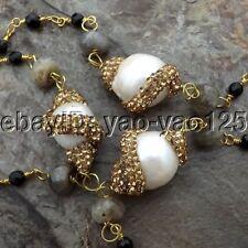 K091209  30'' White Keshi Pearl Labradorite Onyx CZ Pendant Necklace