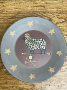 Kathy Graybill Hearthside Large Plate Weathervane Ram Sheep Signed Platter