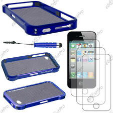 Cover case etui bumper vapor blue apple iphone 4s 4+ mini stylus screen film +3