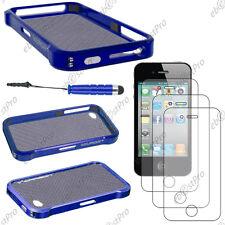 Housse Coque Etui Bumper VAPOR Bleu Apple iPhone 4S 4+Mini Stylet+3 Film écran