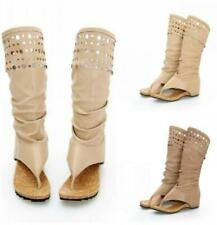 Womens Pleated Clip Toe Hollow Gladiator Roman Knee High Thongs Sandals Shoes
