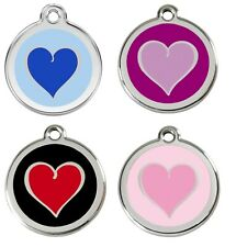 Red Dingo Dog / Cat Tag Heart Engraved Personalised Dog Id identity Tags / discs
