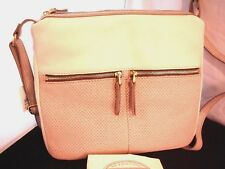 FOSSIL ERIN Bone Beige Outside Pockets Leather Medium Crossbody Purse $168 New