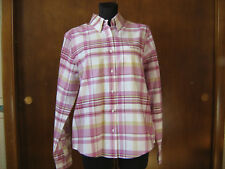 NWT Rockies woman's Pink & Lavender Plaid SHIRT S long sleeves cuffs back pleat