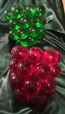 """Vtg 2 Lucite Large GRAPE CLUSTERS for Hanging Swag Lamps RED & GREEN 8""""x18"""" Each"""